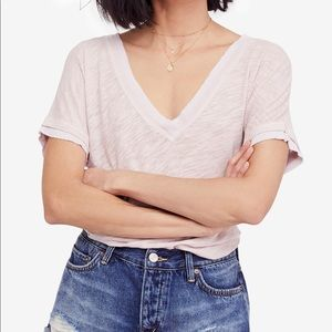 Free People Take Me Raw Edge Contrast T Shirt Sz:S